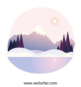 winter landscape peak mountain forest snow and lake