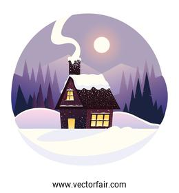 winter landscape country house and forest scenery