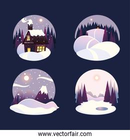 winter landscape in a round frames snowy day in mountains with forest