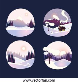 winter landscape in round icons, mountains countryside cottage and forest