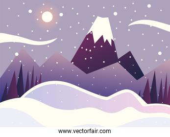 winter landscape sceneery nature mountains trees sky