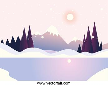 winter landscape peak mountain pine forest and lake