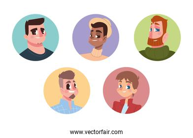 men different style characters avatar in cartoon round icon