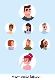 set icons of men and women characters avatar in cartoon