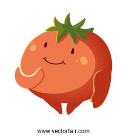 cute tomato vegetable cartoon detailed icon isolated style