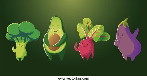 broccoli avocado eggplant and radish fresh vegetables cartoon detailed green background