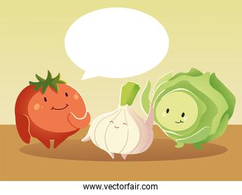 cute tomato lettuce and onion talking vegetables cartoon detailed