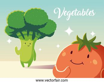 cute fresh tomato and broccoli vegetables cartoon detailed