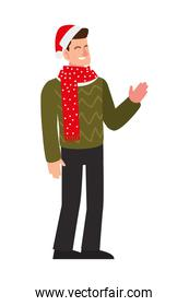 merry christmas man with hat and dotted scarf character cartoon