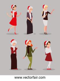 merry christmas women with hat character season celebration icons