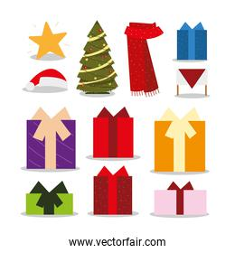 merry christmas icons set tree scarf gifts star decoration