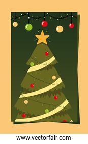merry christmas greeting card tree with star and balls decoration