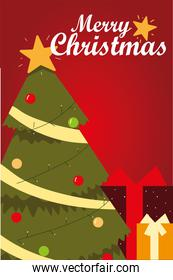merry christmas greeting card tree and gift boxes celebration