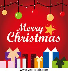 merry christmas greeting card hanging lights balls and gifts