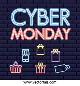 cyber monday lettering with set of neon style icons
