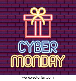 cyber monday lettering with a gift box icon