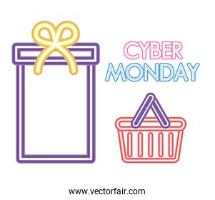 cyber monday lettering, gift box and tray icon in neon style