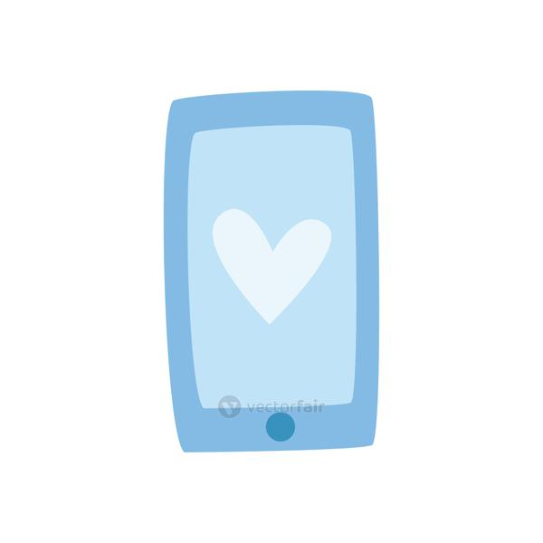 smartphone with heart daily sticker flat style icon vector design