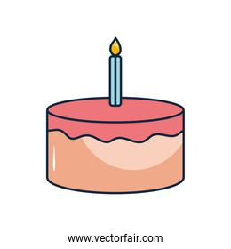 birthday cake with candle icon, flat style