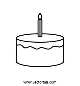 birthday cake with candle icon, line style