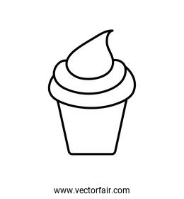 party cupcake icon, line style