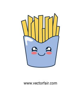 kawaii french fries icon, flat style
