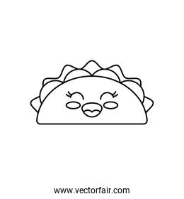 kawaii mexican taco icon, line style