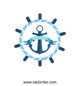 nautical anchor with ribbon in seal stamp rudder vector design