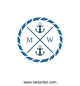 nautical anchors in seal stamp vector design