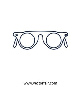 glasses of round frame, line style on white background