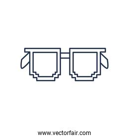 glasses with pixel frame, line style on white background