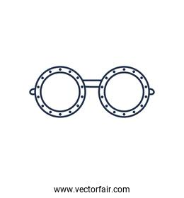glasses of round frame, line style over white background