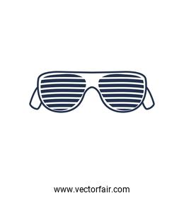 glasses with stripes icon, line style on white background