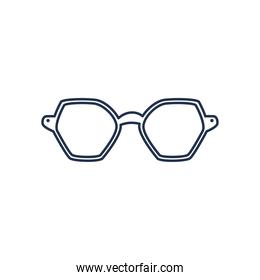 glasses of hexagon lens, line style on white background
