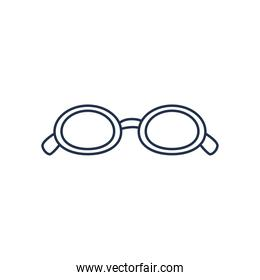 glasses of small round frame, line style on white background