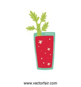 delicious drink with celery leaves on white background