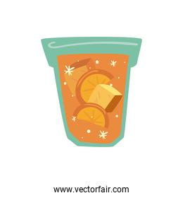delicious drink orange with ice in glass, on white background