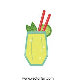 delicious cocktail with leaves, slice lemon and straws