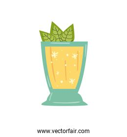 delicious cocktail with leaves decoration in white background