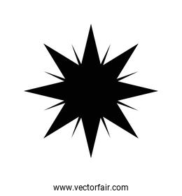 star with lines silhouette style icon vector design