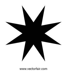 silhouette of star with  8 points  style design