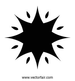 black silhouette of star with  8 points  style design