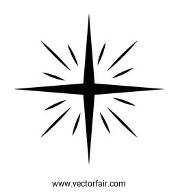 star with lines silhouette isolated icon
