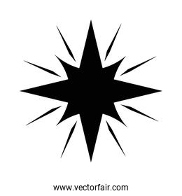 star with 8 points and lines silhouette style icon