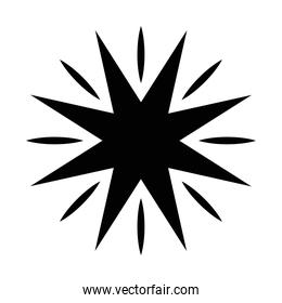 black silhouette of star with  8 points  style