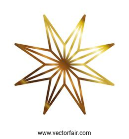 golden star with 8 points style