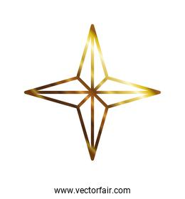 star of 4 points gold color isolated icon