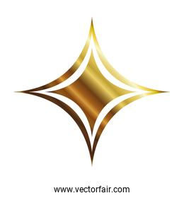 star of 4 points gold color icon