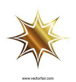 golden star with eight points style icon