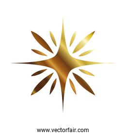star of 4 points golden style icon vector design